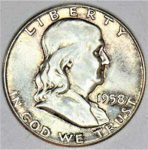 1958 Franklin Half Dollar; Nice Light Tone; Choice Uncirculated