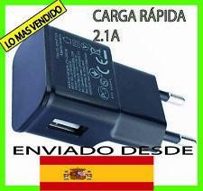 CARGADOR USB RED DE PARED UNIVERSAL CARGA RÁPIDA PARA MOVIL ANDROID NEGRO 5V 2A