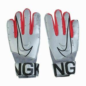 Nike Junior G K Match Goalie Gloves Goal Keeper Goalkeeper Chrome Silver Red Blk