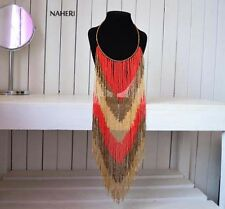 Africa fringe necklace. Tribal beaded fashion Jewelry. African gift for her