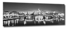 Leinwand Bild Frankfurt Skyline Schwarzweiß Panorama Spiegelung Licht Großstadt