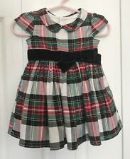 CARTERS Infant Girl's Red And Green Plaid Dress With Velvet Sash, Size 3 Months