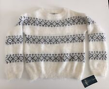 Lucky Brand Clothing Girl's Creamy White Fuzzy Wintry Sweater - Size 5 *NWT