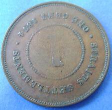 Straits Settlements -  1 cent one cent 1876 Queen Victoria