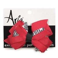 """Aria - Dog Puppy Bow - Tomato & Zebra Bow - Metal Spring Clip - 3.5"""" - Set of 2"""