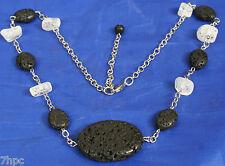 Silver & Black Lava Stone Rock Quartz Crystal Necklace Reiki Blessed, Gift Bag