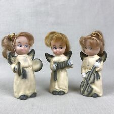 Christmas Angels Vintage Trio Real Hair with Musical Instruments Plastic Rubber