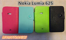 Nokia Lumia 625 Leather Wallet Flip Cover Case with card slots Black