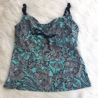 Lands' End Women's Size 8 Underwire Adjustable Tankini Top Blue White Floral