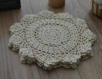 "Lot 6 Cream 12"" Round Floral Crochet Lace Doilies French Country Wedding"
