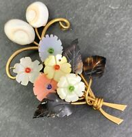VINTAGE FLOWER BROOCH FLORAL SPRAY PIN CARVED SHELL GOLD TONE COSTUME JEWELRY