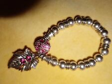Vintage silver-tone expandable metal bracelet - 1990s with pink crystal detail