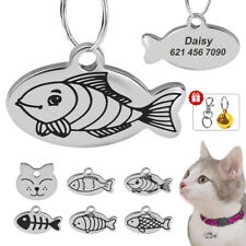 Fish/Cat Shape Cat Id Tags Personalized Engraved Puppy Kitten Custom Nameplate