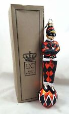 Harlequin Jester Orange / Black Glass Ornament Made in Poland Eric Cortina New