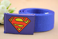 Boys Kids Children Sports Casual Superman Canvas Adjustable Pants Buckle Belt