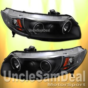 FOR 06-11 HONDA CIVIC 2DR COUPE X-BRIGHT LED HALO RIM PROJECTOR HEADLIGHTS BLACK