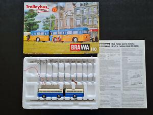 Brawa 6103 Trolleybus blau weiß Set mit Oberleitung und Anleitung, neu, OVP