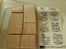NEW STAMPIN UP All God's Children Stamp Set Baby Jesus Boys Girls Scout Dog 2003