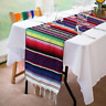 2Pcs Mexican Serape Table Runners Party Wedding Decor Fringe Cotton Tablecloth