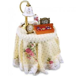 DOLLHOUSE Filled Bedside Night Table 1.703/2 Reutter Country Pink Rose Miniature