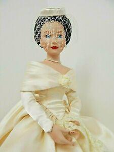 """Ashton Drake 1997 BETH Porcelain 16"""" Seated Bride Doll in 1960s Wedding Dress"""