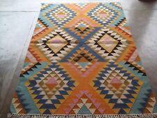 4'x6' Wool Kilim Hand Woven Flat Weave Tribal Rug Southwestern Reversible *NEW*
