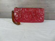New ListingPatricia Nash Raspberry Leather Large Floral Tooled Wristlet Wallet Clutch Bag