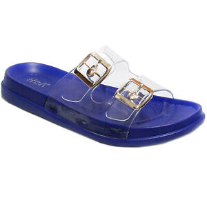 New Women's Rubber Jelly Footbed Soft Slide Adjustable Double Buckle Flat Sandal