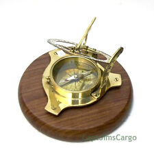 "Brass Compass & Sundial on 6.13"" Teak Wood Base Decorative Nautical Decor New"