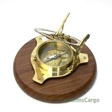 "Brass Compass & Sundial on 6.13"" Teak Wood Base Decorative Nautical Decor New"