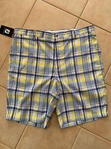 FJ Footjoy Mens Golf Blue Yellow Checkered Shorts Size 40 NWT