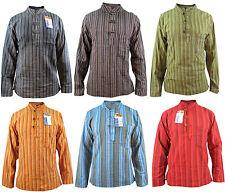 Stripy Men's Grandad Hippie Cotton Summer Light Colorful Nepalese Shirts Tops