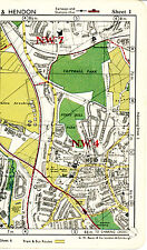 London 1952 orig. city map (part) Hendon Church End Mill Hill East N3 NW11 NW4