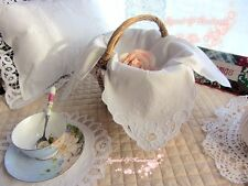 Handmade Taped Cutwork Basket Cloth Liner/Bread Cover~White~Wedding/Teatime~SALE