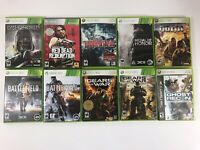 Lot of 10 Games Microsoft Xbox 360 Gears Red Dead Battlefield Wolfenstein Ghost