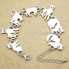 Egyptian Bastet Cat Kitten Pet Animal Charms Chain Link Bracelet Bangle Gift