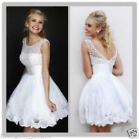 White Fashion Tulle Mini Party Bridesmaid Dress Evening Cocktail Prom Ball Gowns