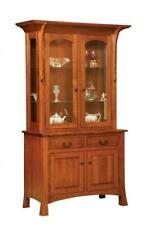 Amish Arts & Crafts Shaker Hutch China Cabinet 2-Door Solid Wood Breckenridge