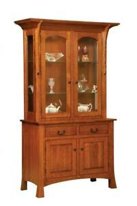 Amish Arts & Crafts Shaker Hutch China Cabinet 2-Door Solid Wood Breckenridge