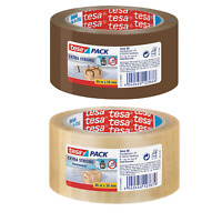 tesa UK Extra Strong Packaging Tape for Heavy Items, 66 m x 50 mm Clear & Brown