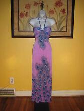 NWOT Lavender Peacock Halter Maxi Dress Size S/M