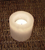 White Cylinder Candle Holder Himalayan Therapeutic Rock Salt Crystal Healing