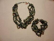 "Indian Agate Multi-Strand Necklace 22"" & Bracelet 8.5"" Set -775.00 Carats"