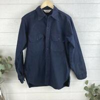 VTG Woolrich Men's Large Long Sleeve Button Up Shirt Blue USA Flannel Heavier