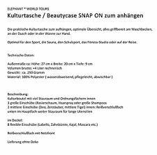 Kulturtasche ELEPHANT SNAP ON Kulturbeutel Beautycase zum aufhängen 11955 TÜRKIS