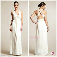 NWT 10 $188 Max & Cleo Long Maxi Off White Dress Gown Wedding Beach X-Back BCBG