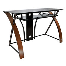 Bell'o Cd8841 Curved Wood Metal and Glass Computer Desk
