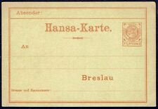 650 GERMANY PRIVATE COURIER PS STATIONERY POSTAL CARD HANSA BRESLAU UNUSED