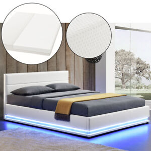 Polsterbett Kunstlederbett Bettkasten Weiß Bettgestell Matratze 180x200 ArtLife®