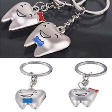Hot Sale 2Pcs Lover Couple Tooth Shape Smile Face Pendant Key Rings Key Chains